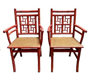 Pr Chinese Chippendale Hollywood Regency Faux Bamboo Coral Lacquered Arm Chairs