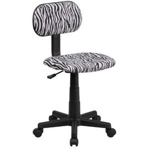Black Home Kitchen Features And White Zebra Print Swivel Task Chair