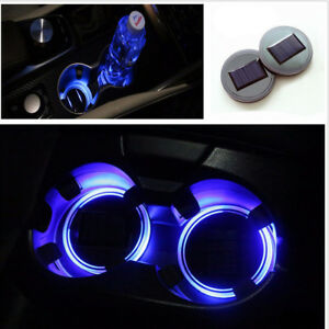 Car Solar Cup Holder Bottom Pad Led Light Cover Trim Atmosphere Lamp Lights