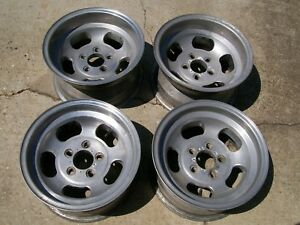Vintage Set Ansen Slots Sprint Mag Wheels 15x8 15x7 5 Lug 4 75 Rat Hot Rod