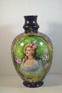 Antique European Porcelain Portrait Vase