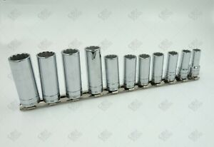 Sk Hand Tools 1871 11pc 3 8 Dr 12pt Deep Metric Chrome Socket Set