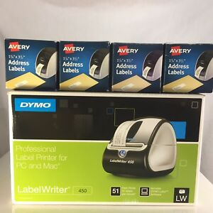 Dymo Labelwriter 450 Thermal Label Printer New Bundle With 4 Extra Rolls Labels