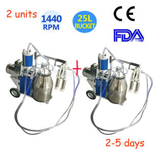 2x Us Dairy Milker Vacuum Pump Electric Milking Machine 25l Bucket For Farm Cows
