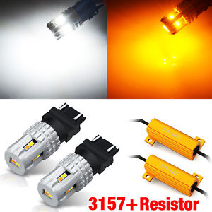 2x 3157 Dual Color Switchback Amber white Led Turn Signal Lights Bulb resistors