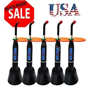 5pcs Dental Dentist Cordless 5w Led Curing Light Lamp 1500mw With Warranty Usa