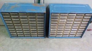 2 Vintage Akro Mils Blue Metal Cabinets Storage Wall Organizers 50 Drawers