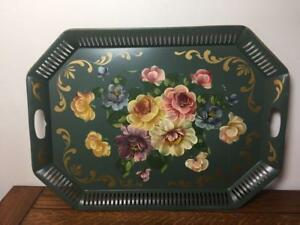 Huge Vtg Art Gift Products Toleware Tray Tole Hand Painted Green Floral Flowers