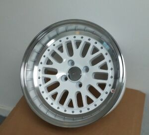 New 4 15 White lip Lm20 Style 0 Offset Wheels Rims Nissan Versa Sentra 4x100