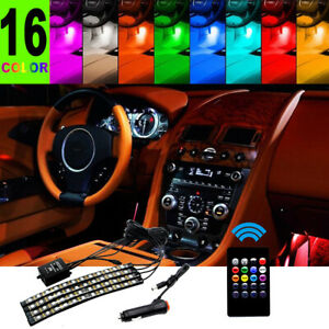 Led 9led Ir Remote Control Strip 4pcs Car Interior Atmosphere Neon Lights