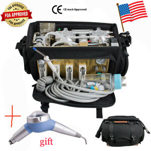 Portable Dental Turbine Unit Bag Air Compressor Suction System Equipment Syringe