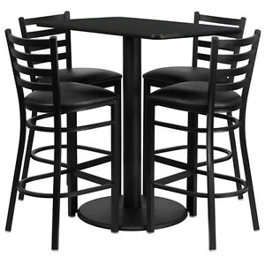 Set Of 10 Rectangular High top Restaurant cafe Black Table And Stool chair Set