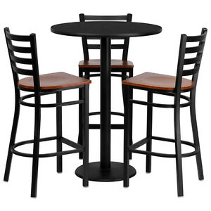 30 Round High top Restaurant cafe bar Table And Cherry Seat Stool chair Set