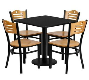 30 Square Restaurant cafe bar Black Table And Wood Chair Set