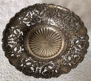 Antique Ornate Sterling Silver Floral Pierced Candy Dish 2