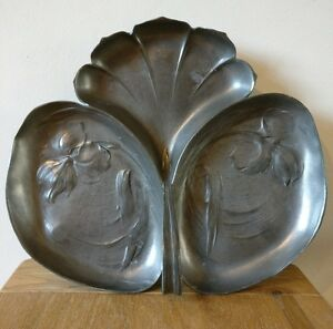 Art Nouveau Signed Orivit Pewter Triple Dish Number 2068