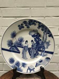 Chinese Porcelain Plate Kangxi Mark And Period B W Qing Dynasty Long Eliza 17th