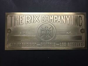 New Rix Company California Brass Data Tag Antique Gas Engine Hit Miss