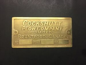 New Cockshutt Plow Company Brantford Brass Data Tag Antique Gas Engine Hit Miss