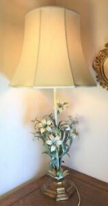 Huge 43 Vintage Toleware Daylily Table Lamp Italian Gold Tole Lilies Gilt Shade