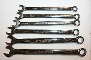 Snap on Tools Combination Standard Length 12 point Wrench Set 6pcs 10 15mm