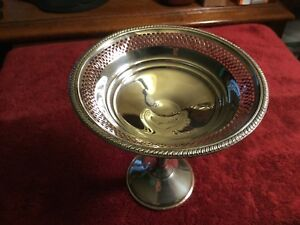 Crown Sterling Silver Pierced Compote Candy Dish 5 1 2 Tall