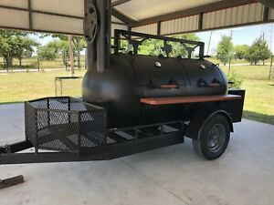 New Custom Bbq Pit Smoker Cooker Trailer W Charcoal Grill Trays