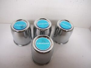 4 Steel Chrome Cragar Caps 3 1 8 For 5 Lug Cragar Sst Wheels W Blue Vintage