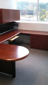 Set Of 9 Desks U shape Executive Office Furniture Desk With Cabinet Steelcase