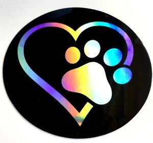 Dog Love 3 5 Sticker Decal Car 3d Reflective Window Bumper Doggy Paw Heart