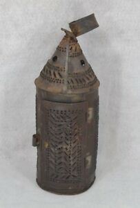 Lantern Lamp Pierced Tin Candle 18th C Candle Table Top Hang Antique 1700 1800