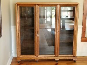 Antique Tiger Oak Triple Bookcase 1907