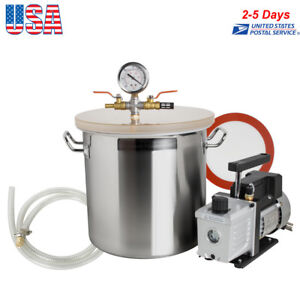 5 Gallon Stainless Steel Vacuum Degassing Chamber Silicone Kit W 3 Cfm Pump Usa