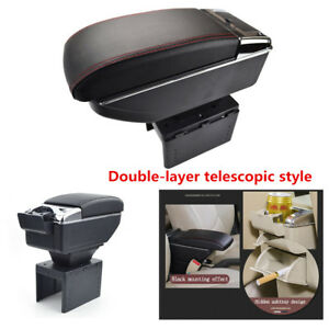 Universal Double layer Telescopic Style Car Central Container Armrest Box Pu