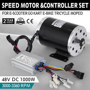 48v Dc Electric Brushed Speed Motor 1000w W Controller T8fchain Moped Kit
