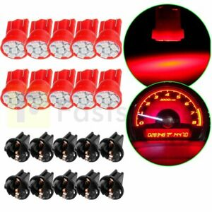 10x Pc194 Pc168 Red T10 6 3528 Smd Led Bulb For Instrument Panel Light W Socket