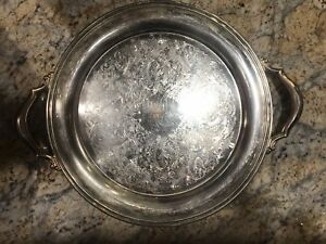 Vintage Oneida Usa 15 Round Ornate Silver Plated Serving Tray With Handles