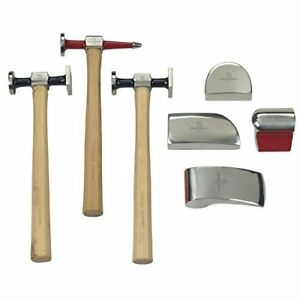 7pc Auto Body Hammer Tool Set Professional Fender Repair Dolly Bumping Chisel