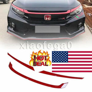 Red Grill Grille Cover Trim Fits For Honda Civic Type r 2016 2018 Pp 951725 Usa