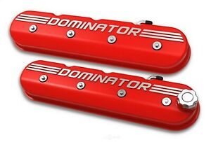 Holley 241 121 Ls Tall Dominator Valve Covers Gloss Red W Machined Finish