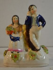 Antique Victorian Staffordshire Pottery Couple Figurine