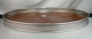 Vintage Mid Century Modern Laminate Wood Tray With Sterling Silver Gallery