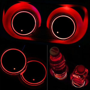 Solar Power Led Flashing Car Cup Holder Pad Mat Auto Interior Light Red Color