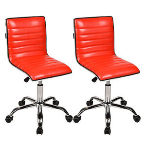 Set Of 2 Mid Back Office Task Chairs Swivel Armless Ribbed Pu Leather Upholstery