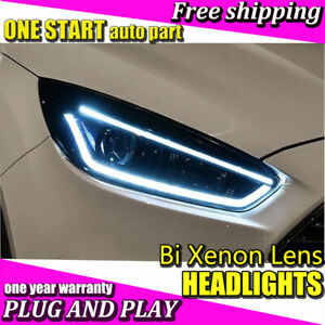 For Ford Focus 2015 2018 Headlights Bi Xenon Lens Hid Kit Led Drl