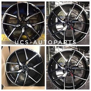 18 Black Machine Benz Amg Y Spoke Style Rims Wheels Fits S500 S400 S60