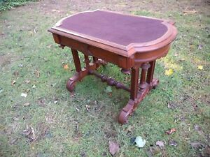 Antique Victorian Walnut Writing Table Or Desk