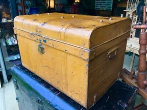 Antique Immigrant Travel Trunk Metal Original Great Mustard Blue Paint