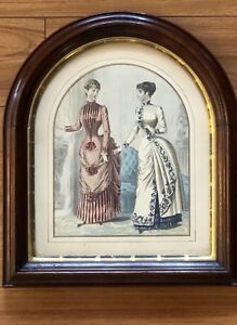 Antique Victorian Walnut Cathedral Dome Top Picture Frame 15x13 1800s W Print