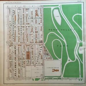 1925 Westside South Kansas City Mo Penn Valley Park Union Cemetery Atlas Map